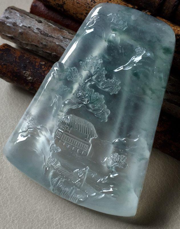 高冰山水 翡翠挂件 尺寸47*35*6.6