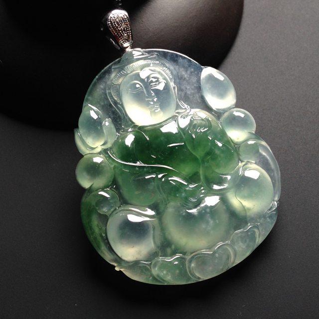 冰种飘绿花翡翠观音吊坠  裸石53-47-7.5毫米