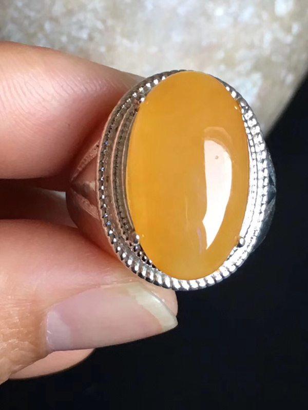 老坑冰种黄翡 翡翠戒指19.8-11.6-6.2mm