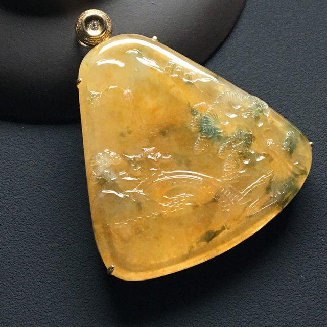 冰黄飘花大好河山 18k金*钻石镶嵌 整体尺寸:51-43-8.8*
