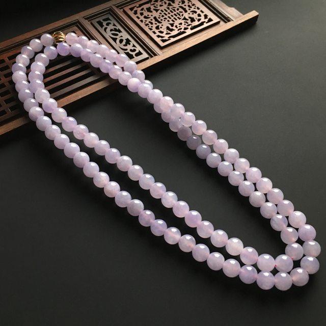 紫罗兰翡翠佛珠项链 直径8mm