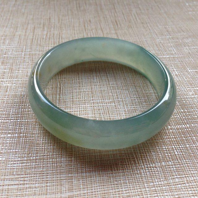 冰种绿花带黄翡贵妃翡翠镯:56-50.8-13.3-5.8