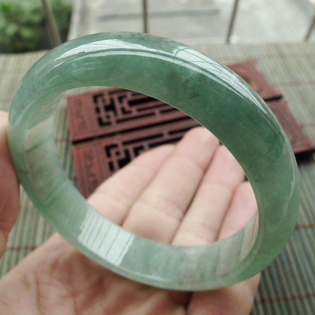 糯冰种飘绿翡翠手镯  缅甸天然翡翠正装手镯 尺寸55.2-13.5-7.2mm