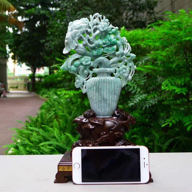 老坑糯種淺綠飄陽綠 翡翠A貨 平安富貴花瓶擺件