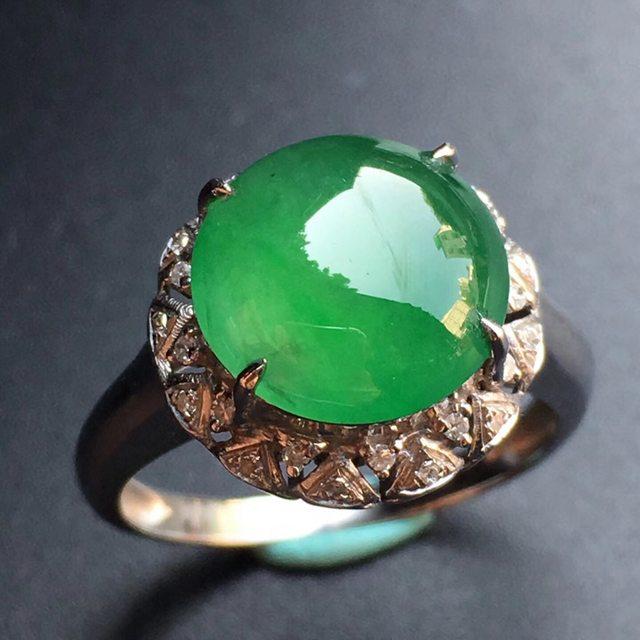 10.7*10.8*4mm冰种满绿 缅甸天然翡翠戒指