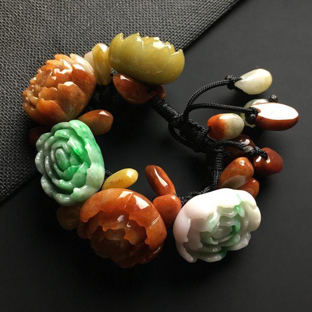 多彩花开富贵翡翠手链 单个尺寸29-22-15毫米