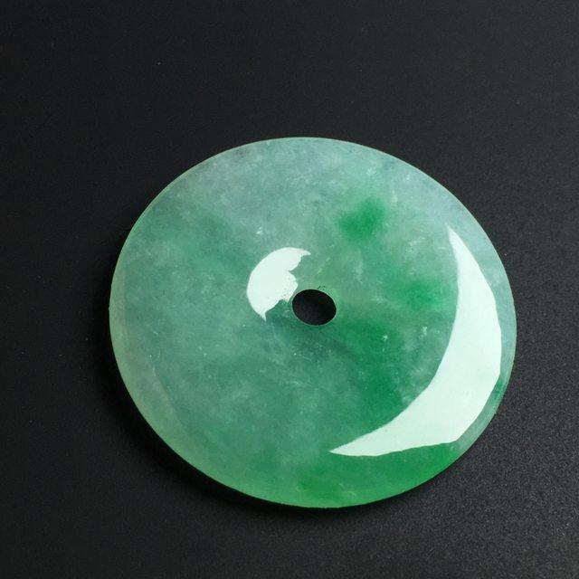 冰糯种飘绿平安扣 色泽艳丽 尺寸29-3毫米