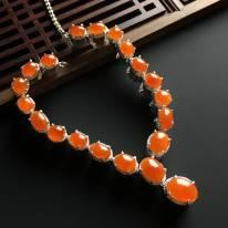 冰红翡蛋面翡翠项链 10-8-4mm