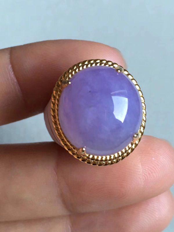 老坑冰种 紫罗兰 缅甸天然翡翠戒指16.2-15-7.8mm