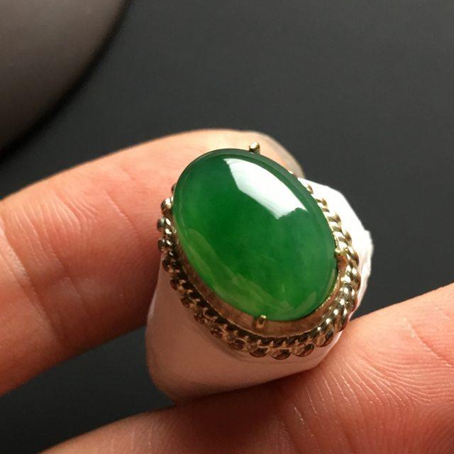 糯种满绿 缅甸天然翡翠戒指 15-11-4.2毫米图1