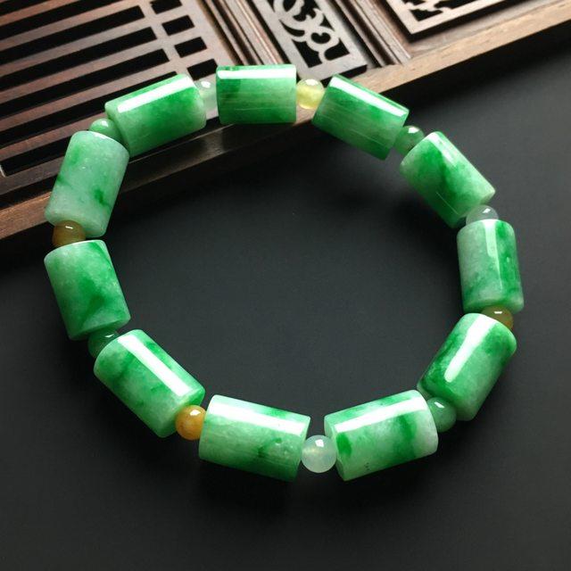 飘绿路路通翡翠手链14-10毫米