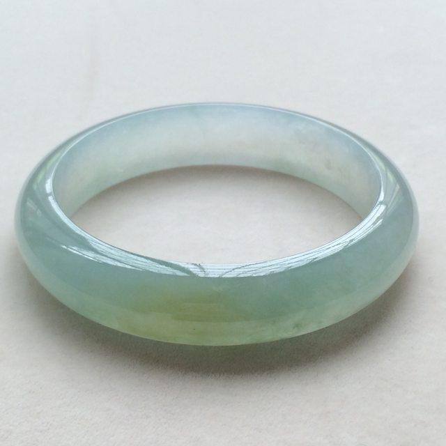 冰种晴水翡翠手镯  缅甸天然翡翠正圈手镯  尺寸:57.8寸