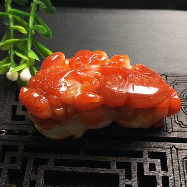 红翡貔貅 翡翠吊坠 尺寸58*27.7*27mm