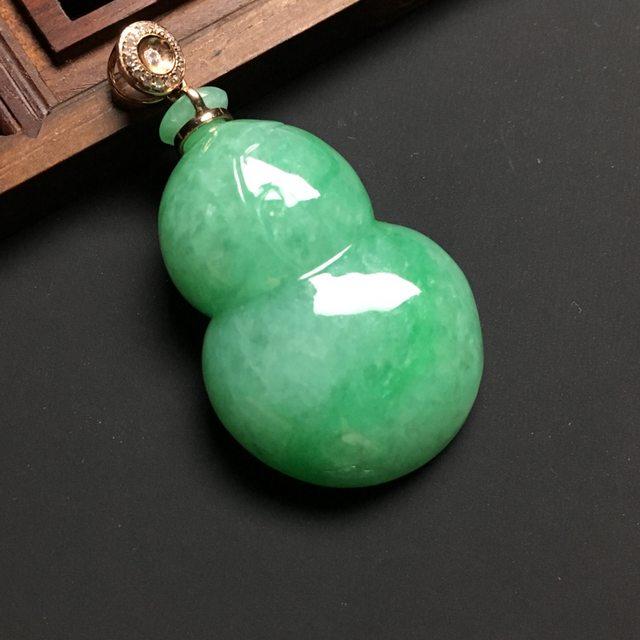 冰糯种满绿 葫芦翡翠吊坠 18K金扣 尺寸36-23-8.8毫米