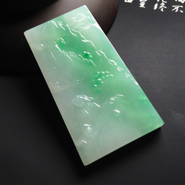 糯冰种带色松下抚琴  尺寸58-32-6毫米