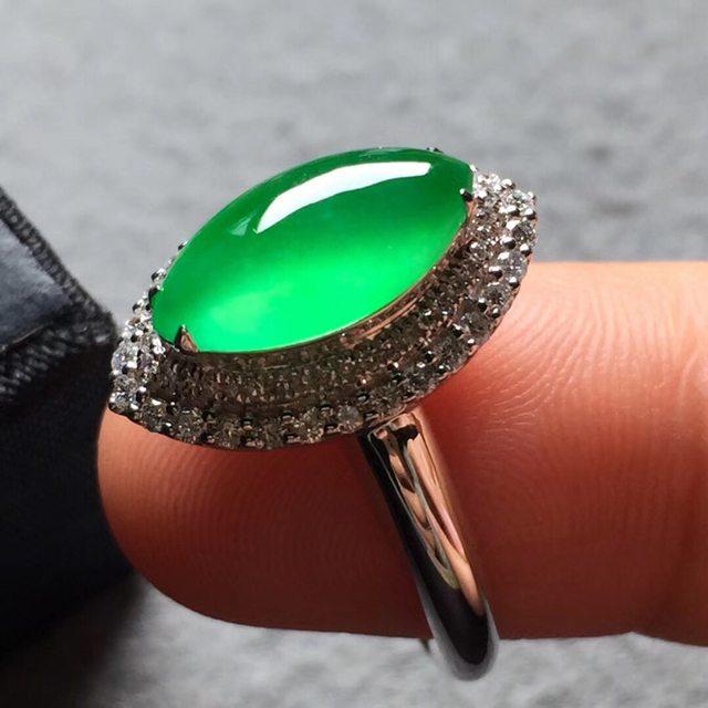 玻璃种木那 缅甸天然翡翠戒指