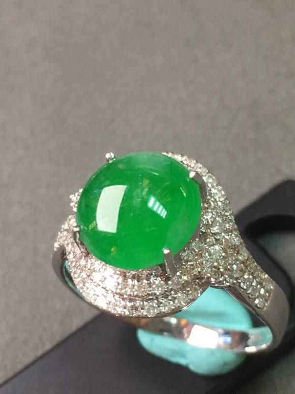 冰种阳绿 缅甸天然翡翠戒指