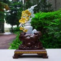 翡翠A货 老坑春彩飘黄翡 花开富贵平平安安花瓶摆件