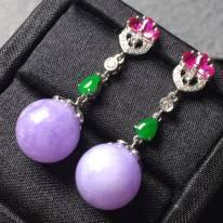 冰紫罗兰 翡翠耳坠 珠子直径11.5用长35.6mm