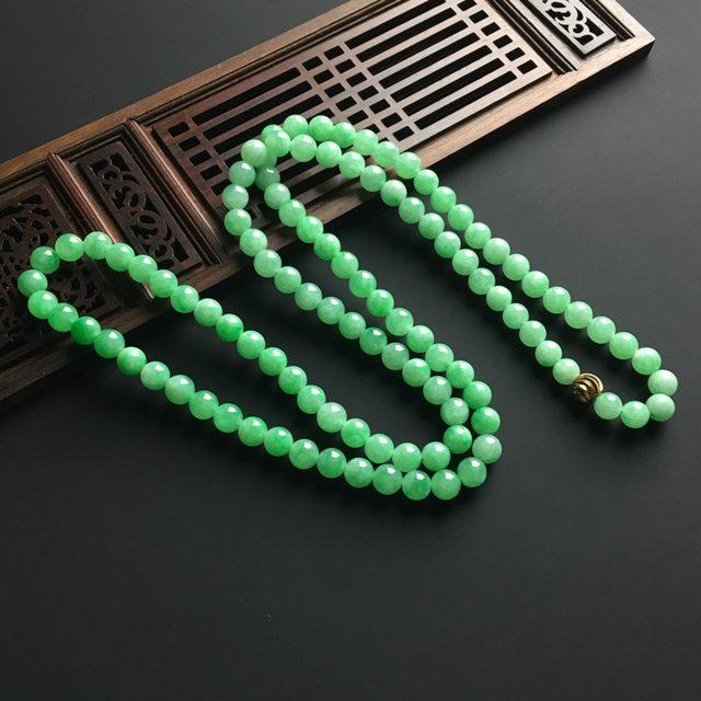 阳绿天然翡翠项链 直径7毫米图2