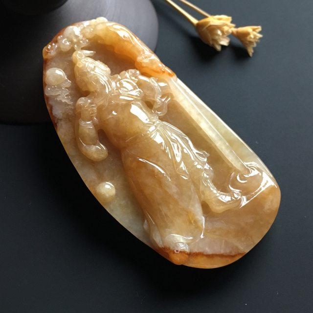 黄翡关公吊坠 尺寸79-37-11毫米