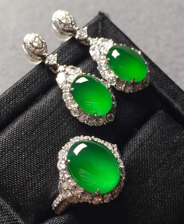冰种阳绿漂亮套装 耳钉9.9*7.1*4戒指11.3*8.8*4