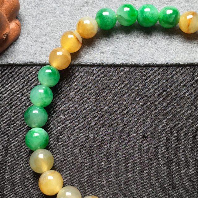 黄加绿天然翡翠手串6图4