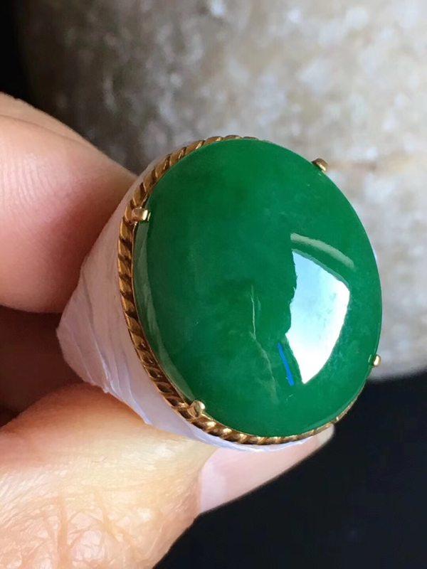 老坑冰种浓绿色 翡翠戒指22-17.6-6mm