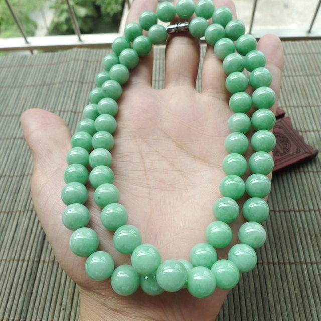 满绿天然翡翠圆珠项链 珠大取一9.8mm
