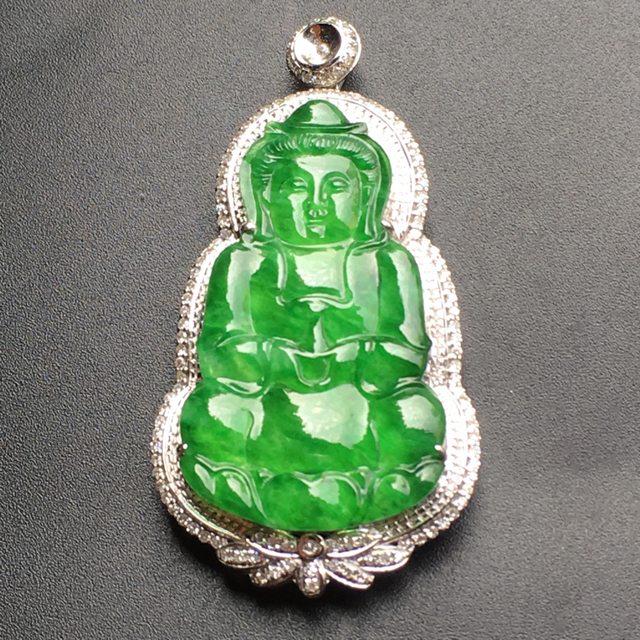 满绿观音 翡翠挂件 裸石尺寸:33.1*19.5*3.5