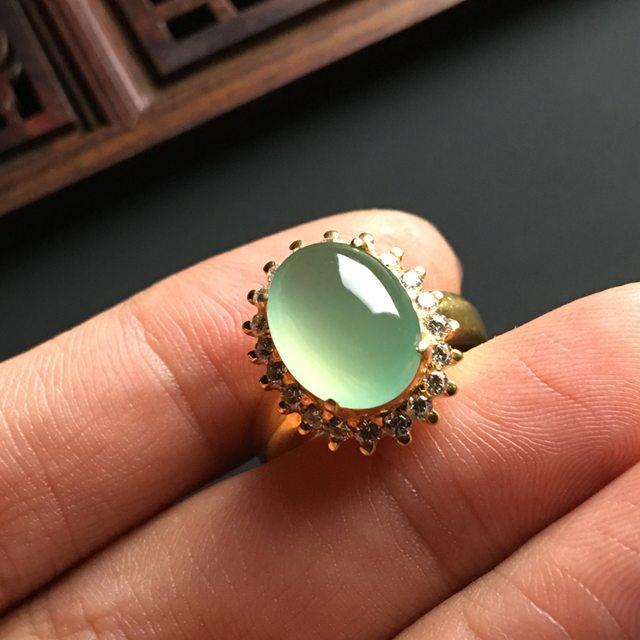 13-10-5寸冰种晴底 缅甸天然翡翠戒指