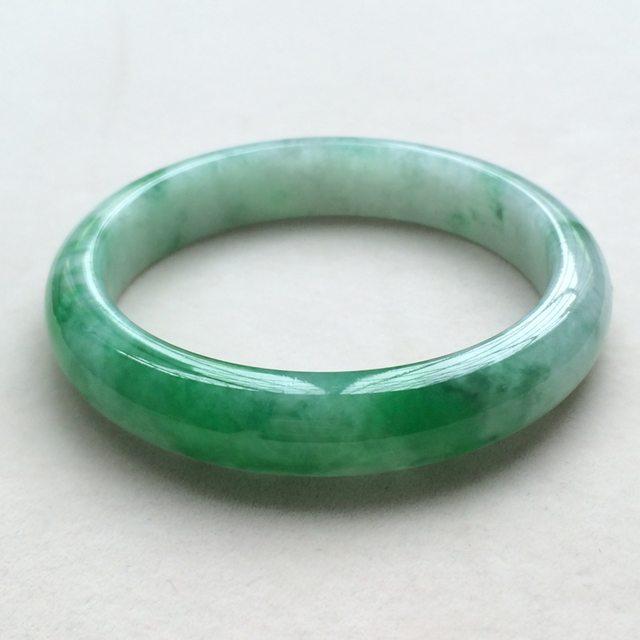 冰种飘辣绿翡翠手镯  缅甸天然翡翠正圈手镯  尺寸:54.6寸