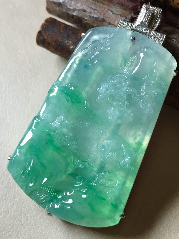 冰绿山水翡翠挂件 尺寸46.8*29.7*5整体56.2*31.5*7