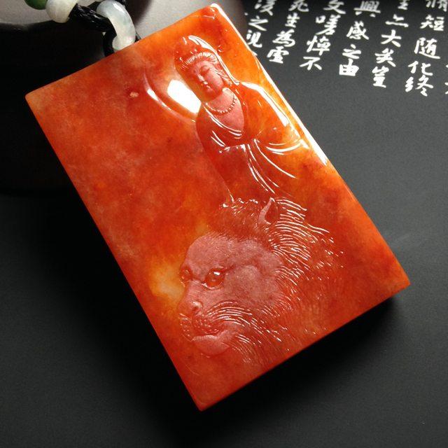 巧雕红翡文殊菩萨  尺寸66-42-11毫米
