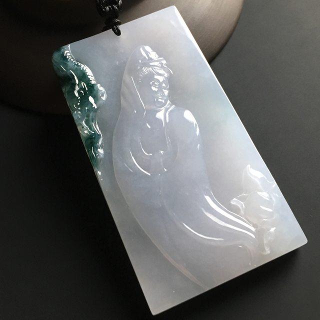飘花观音 翡翠挂件 尺寸71-39-8毫米