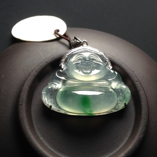 冰种飘翠佛公 翡翠挂件 尺寸24-30-9mm