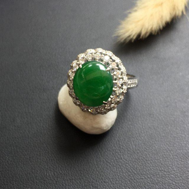 冰阳绿翡翠戒指 缅甸天然翡翠戒指