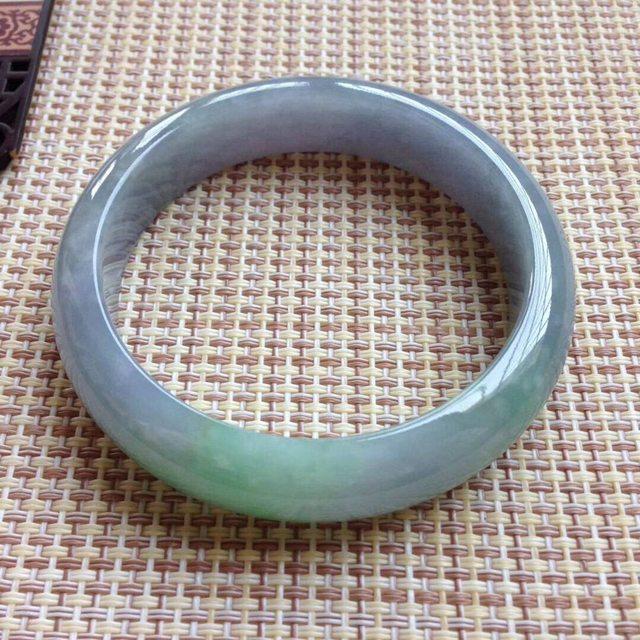 天然翡翠手镯A货 糯种紫罗兰飘绿手镯