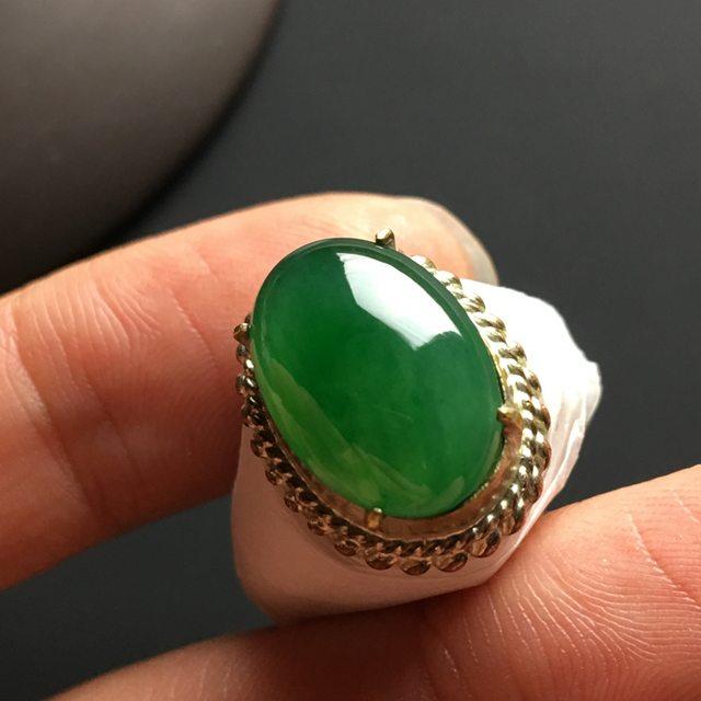 糯种满绿 缅甸天然翡翠戒指 15-11-4.2毫米图5