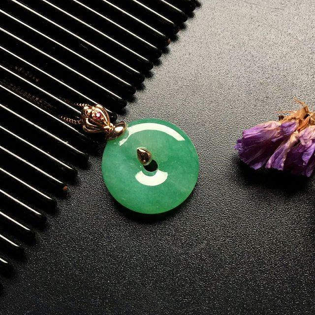 冰种阳绿翡翠平安扣吊坠  尺寸: 16.5-4.5mm