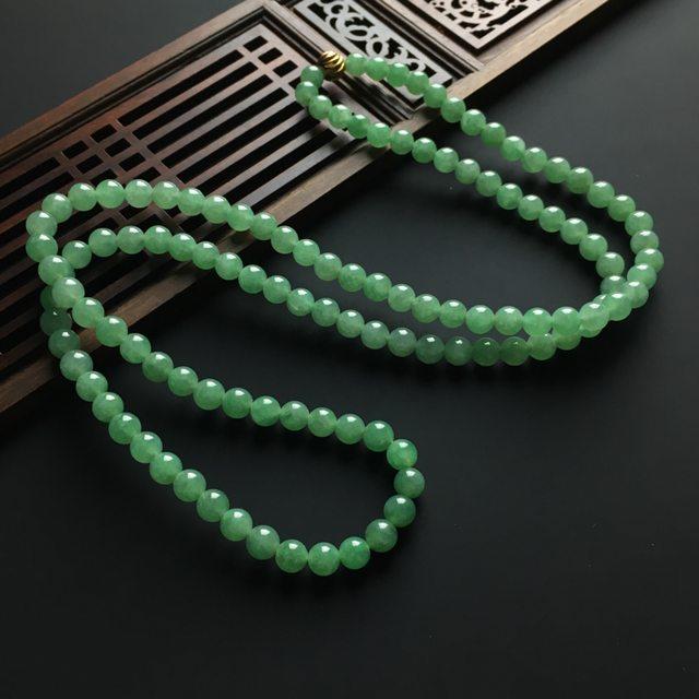 糯冰种晴绿 天然翡翠佛珠项链 单颗佛珠直径6毫米