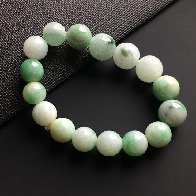 双彩佛珠翡翠手链12-10.5毫米