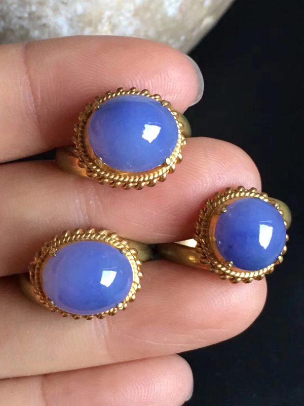 老坑冰种 紫罗兰 缅甸天然翡翠戒指