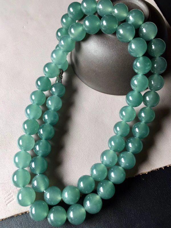 冰种蓝水翡翠珠链 共58颗