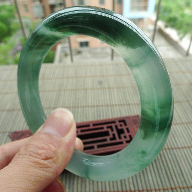 老种冰润飘花圆条翡翠手镯 尺寸57.3-11.7-11.5mm