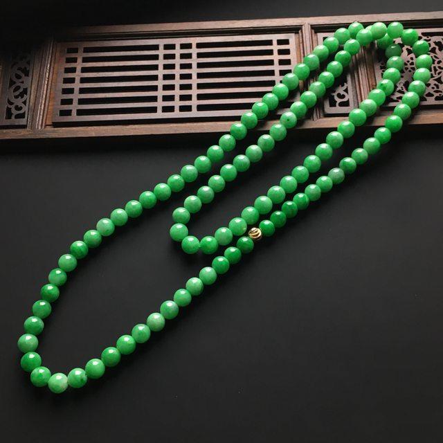 冰润阳绿天然翡翠项链 直径7毫米图4