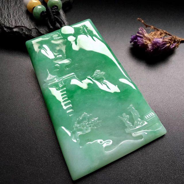 带色锦绣山河 翡翠吊坠 尺寸: 67-45-5mm