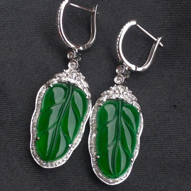 冰润满绿翡翠树叶耳坠
