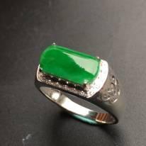 冰種陽綠馬鞍 翡翠戒指