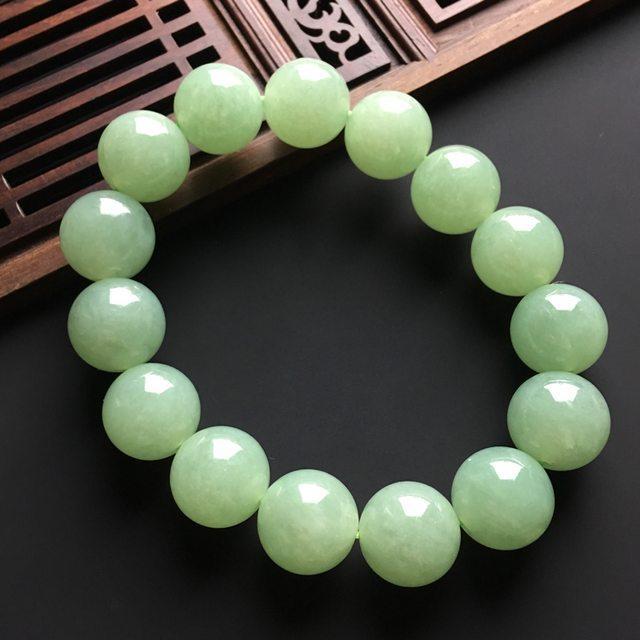 晴绿天然翡翠手链 直径14.5毫米